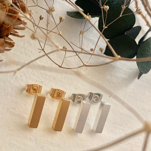 Brutalist/Cubist  Geometric Stud Earrings in Gold and Silver