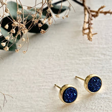 "Load image into Gallery viewer, ""Zella"" Gold Plated Druzy Stud Earrings (6 colours)"