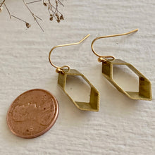 Load image into Gallery viewer, Sliced Hexagon Drop Earrings in Raw Brass