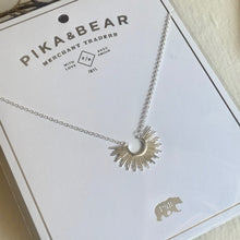 Load image into Gallery viewer, Tiny Sunburst Charm Necklace in Silver with Gift Packaging