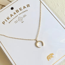 Load image into Gallery viewer, Dainty Pave Studded Crescent Horn Charm Necklace in Gold and Silver