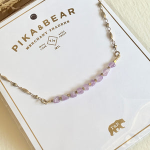Ornate beaded necklace with natural stones rose quartz, freshwater pearls, amethyst, honey jade, and  amazonite