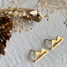 Load image into Gallery viewer, Mountain Range Stud Earrings in Gold, Silver, and Rose Gold
