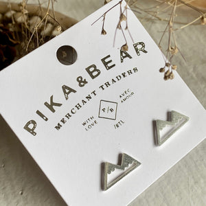 Mountain Range Stud Earrings in Gold, Silver, and Rose Gold