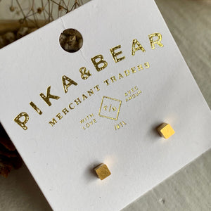 Tiny Cubist Geometric Cube Stud in Gold and Silver