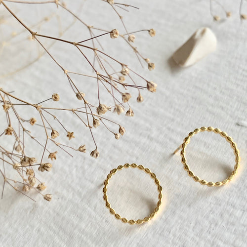 Textured Circle Stud Earrings in Gold