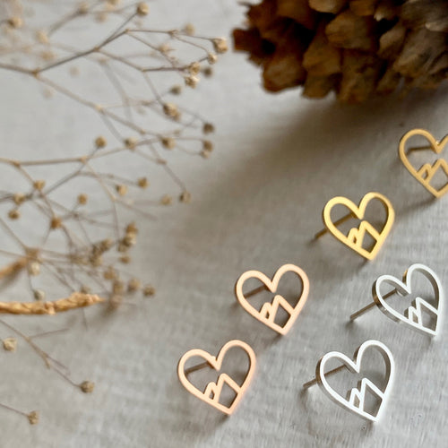 Heart WIth Mountains Inside Stud Earrings in Gold, Silver, and Rose Gold