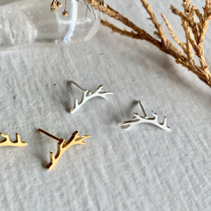 tiny minimal stud antler earrings in gold, and silver