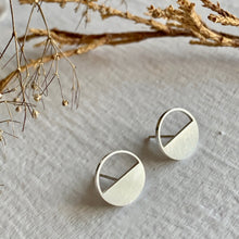 Load image into Gallery viewer, Minimal Bauhaus Design Stud Earrings in Gold and Silver