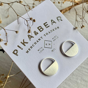 Minimal Bauhaus Design Stud Earrings in Gold and Silver