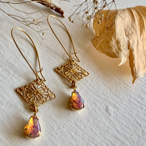 Romantic Filigree Stamping Drop Kidney Wire Earrings with Vintage Fire Opal Teardrops