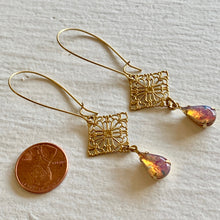 Load image into Gallery viewer, Romantic Filigree Stamping Drop Kidney Wire Earrings with Vintage Fire Opal Teardrops