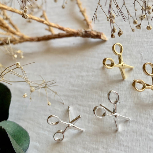 Tiny Scissor Stud Earrings in Gold and Silver