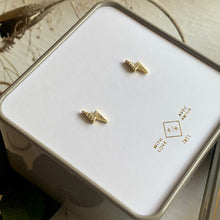 Load image into Gallery viewer, Pave gold vermeil lightning bolt stud earrings