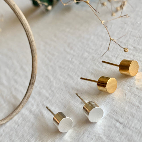 Minimalist Cylinder Stud Earrings in gold and silver