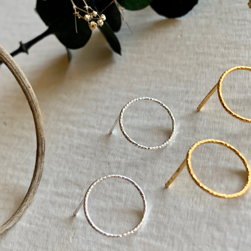 Textured Minimal hoop stud earrings in sterling silver and gold vermeil
