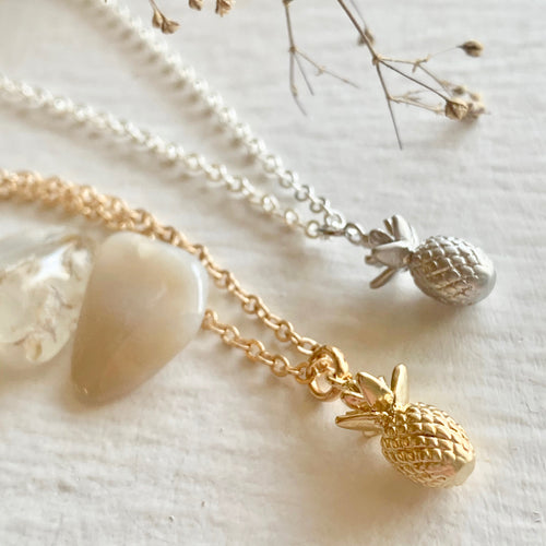 Tiny Pineapple Charm Necklace in Gold and Silver