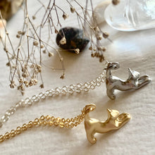 Load image into Gallery viewer, Tiny Stretching Cat Pendant Charm Necklace in Gold and Silver