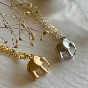 Tiny Elephant Pendant Charm Necklace in Gold and Silver