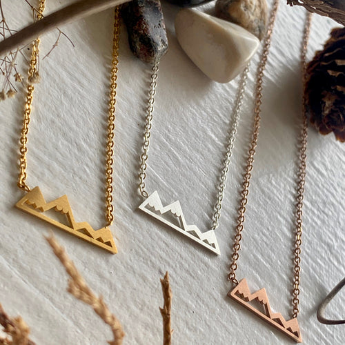 Mountain Range Charm Necklace in gold, silver, and rose gold