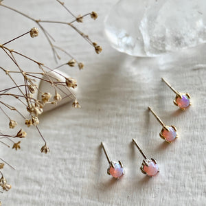 Tiny Opal Stud Earrings set in Sterling silver and gold vermeil..