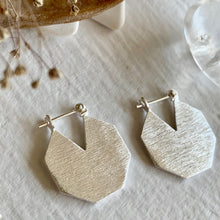 Load image into Gallery viewer, Contemporary Hexagonal Textured Sterling Silver Statement Hoop Earrings