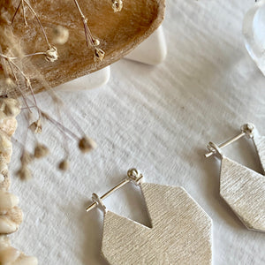 Contemporary Hexagonal Textured Sterling Silver Statement Hoop Earrings
