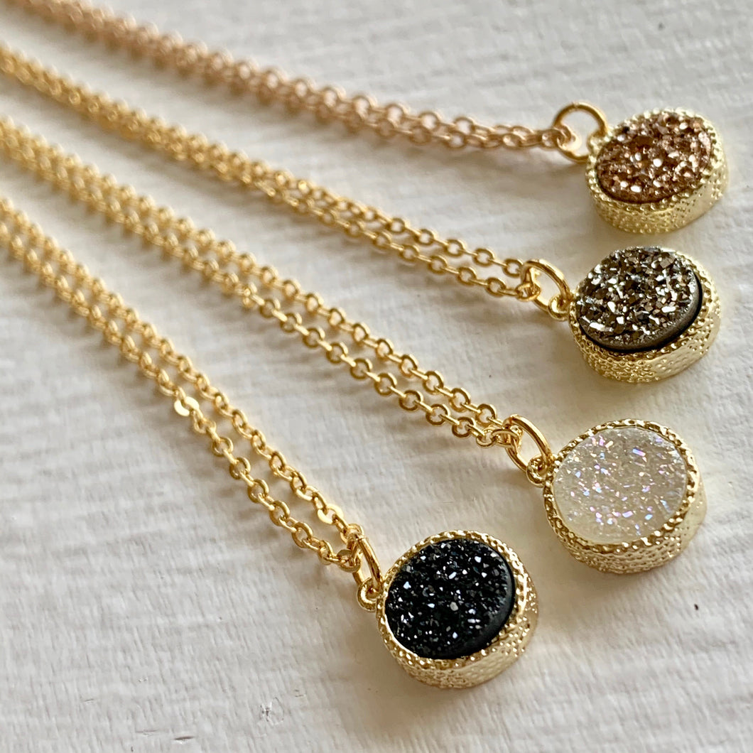 Dainty Druzy Pendant charm Necklace in Gold, Silver, Rose Gold, and Crystal White