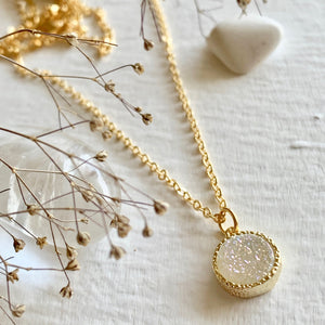 Dainty Druzy Pendant charm Necklace in Gold and shimmer white