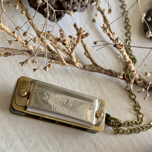 Miniature Harmonica Charm Necklace