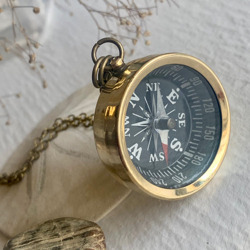 Brass Travel Compass Charm Necklace on Bronze Chain