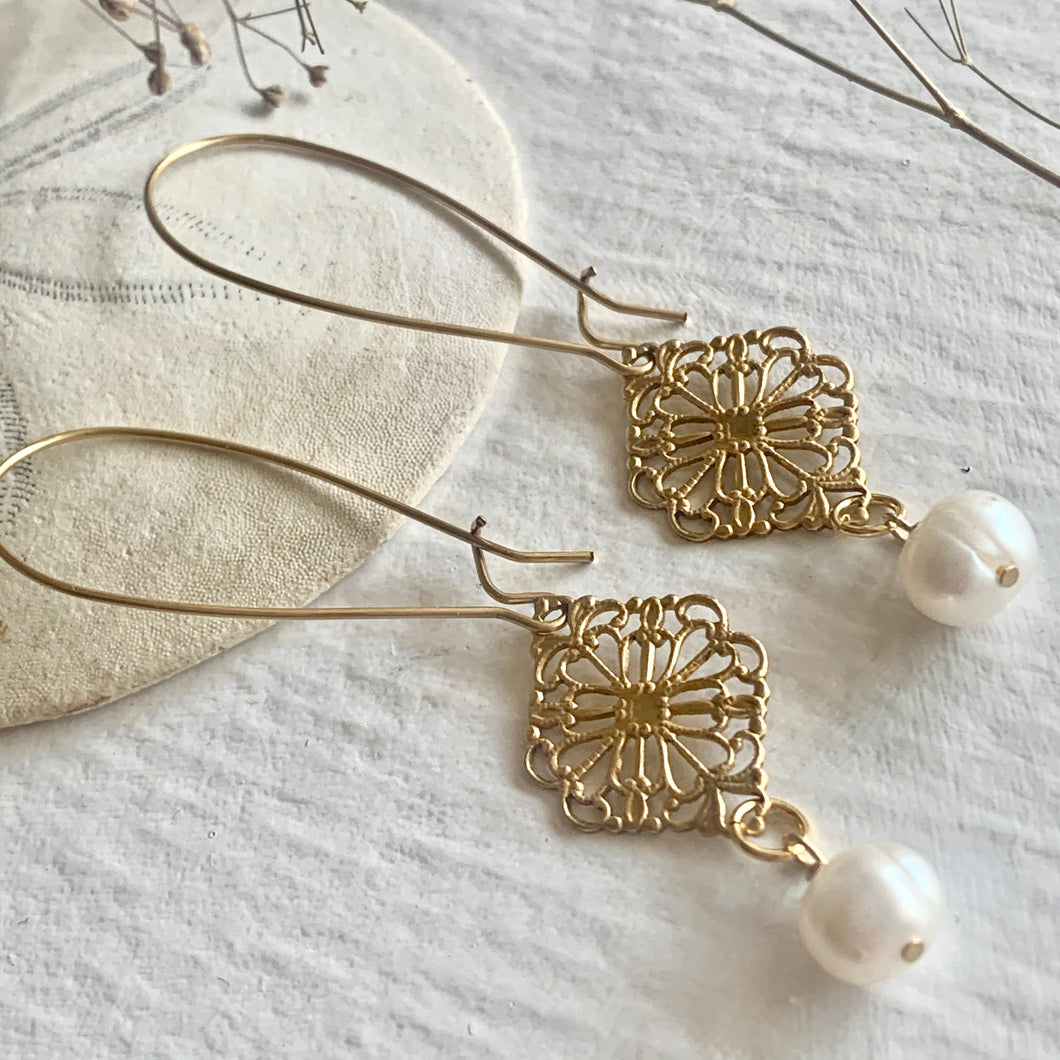 Raw Brass Filigree Vintage Inspired Kidney Wire Drop Earrings with Freshwater Pearls