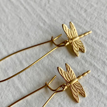 Load image into Gallery viewer, Raw brass dragonfly charm design kidney wire drop earrings