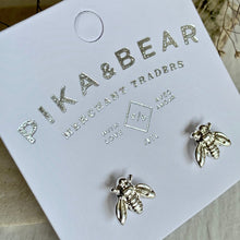 Load image into Gallery viewer, Tiny Honeybee Stud earrings in gold and silver