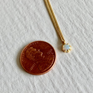 Tiny  Fire Opal Charm Pendant Necklace on Curb Chain in Gold Vermeil and Sterling Silver