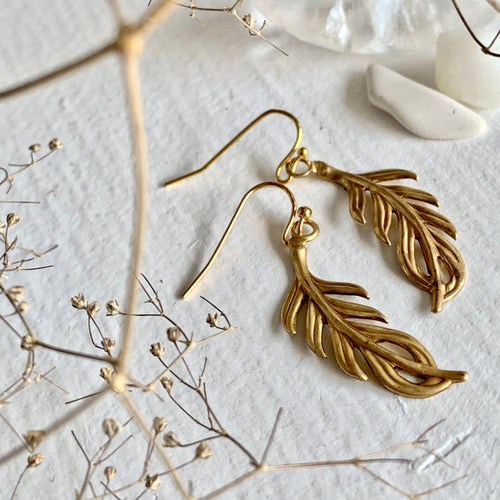 1930's Inspired Raw Brass Vintage Look Fern Style Drop Earrings