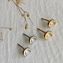 "Load image into Gallery viewer, ""Usagi"" Crescent Studs With Rhinestone in Sterling Silver, and Gold Vermeil"