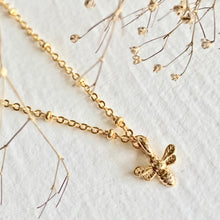 Load image into Gallery viewer, Tiny Bee Pendant Charm Necklace Available in Gold and SIlver