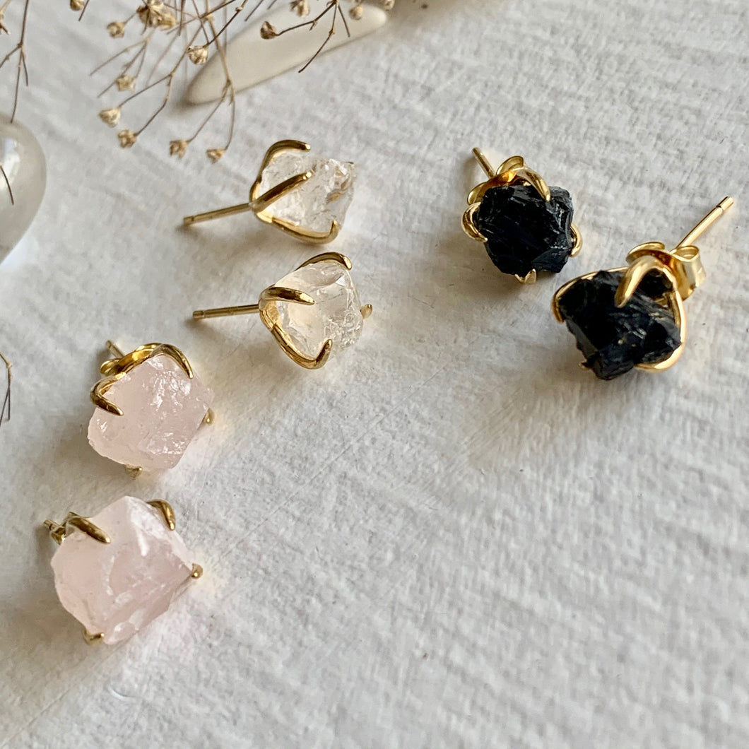 Gold Vermeil Rough Cut Stone Claw Set Earrings in Rose Quartz, Black Agate, and Clear Quartz
