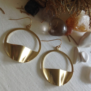 Modernist, statement, hoop drop earrings in raw brass