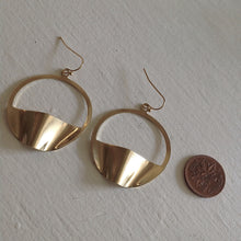 Load image into Gallery viewer, Modernist, statement, hoop drop earrings in raw brass
