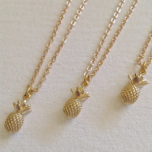 Tiny Pineapple Charm Necklace in Gold