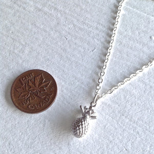 Tiny Pineapple Charm Necklace in Silver