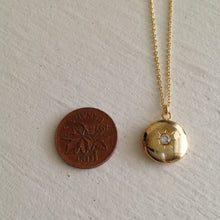 Load image into Gallery viewer, Gold Starburst Charm Locket Necklace