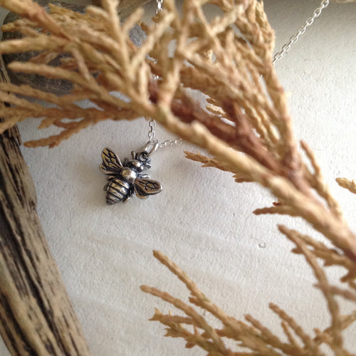 Sterling Silver Honeybee Charm Necklace