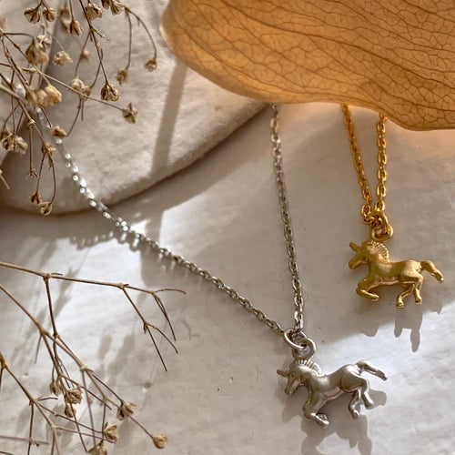 Tiny Unicorn Charm Necklace in Gold and Silver