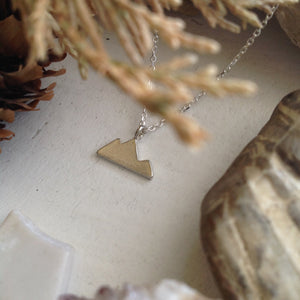 Sterling Silver and Gold Vermeil Minimal Mountain Charm Necklace