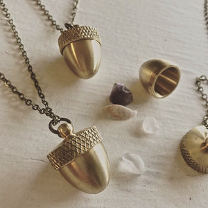 Brass Acorn Canister Pendant Long Necklace on Bronze Chain