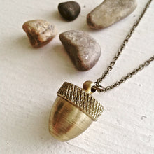 Load image into Gallery viewer, Brass Acorn Canister Pendant Long Necklace on Bronze Chain