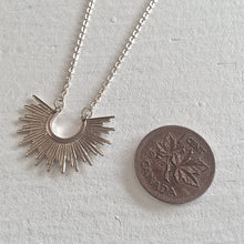 Load image into Gallery viewer, Tiny Sunburst Charm Necklace in Silver